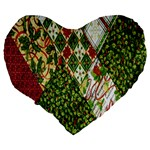 Christmas Quilt Background Large 19  Premium Flano Heart Shape Cushions Back