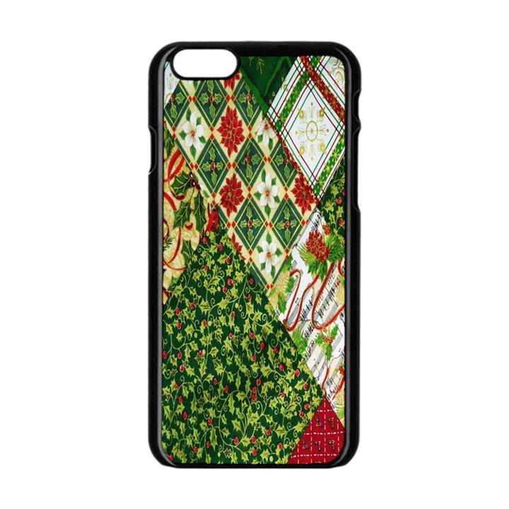Christmas Quilt Background Apple iPhone 6/6S Black Enamel Case