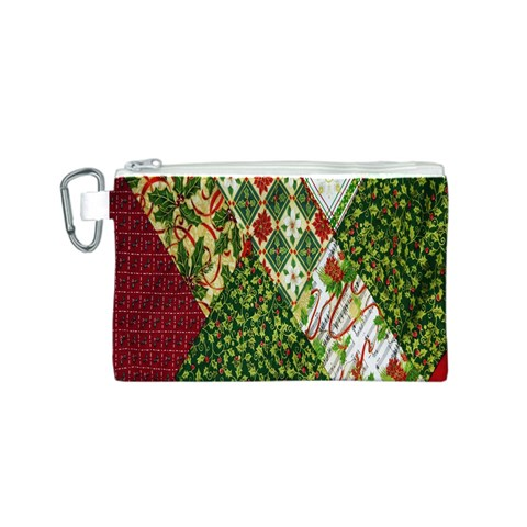 Christmas Quilt Background Canvas Cosmetic Bag (S)