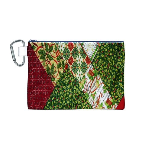 Christmas Quilt Background Canvas Cosmetic Bag (M)