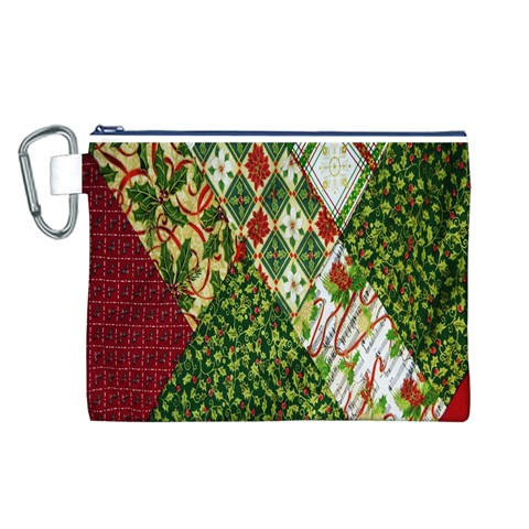 Christmas Quilt Background Canvas Cosmetic Bag (L)