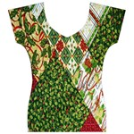 Christmas Quilt Background Women s V-Neck Cap Sleeve Top Front