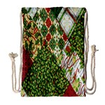 Christmas Quilt Background Drawstring Bag (Large) Front