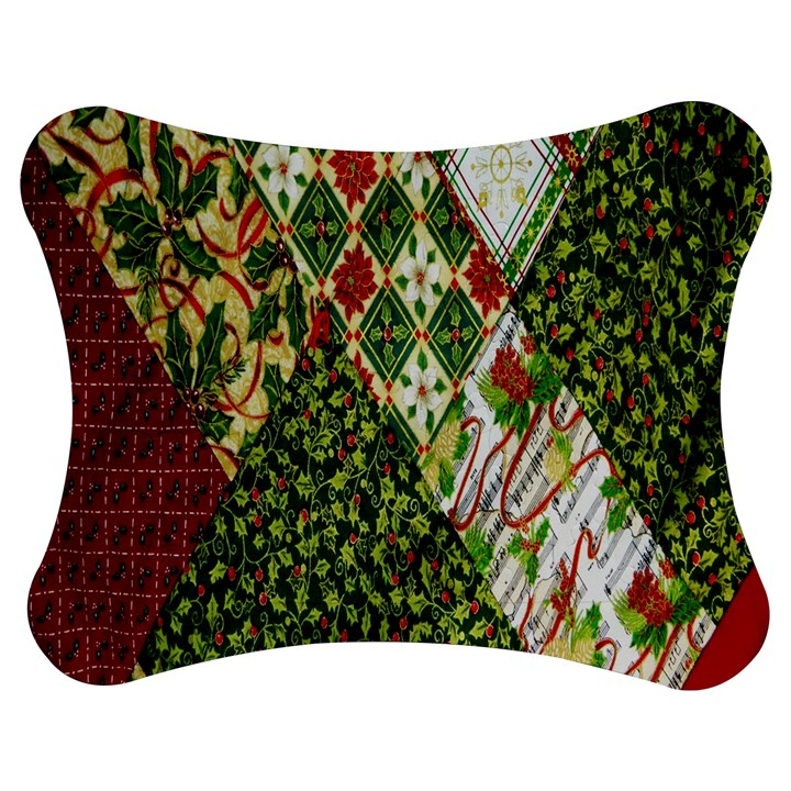 Christmas Quilt Background Jigsaw Puzzle Photo Stand (Bow)