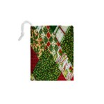 Christmas Quilt Background Drawstring Pouches (XS)  Back