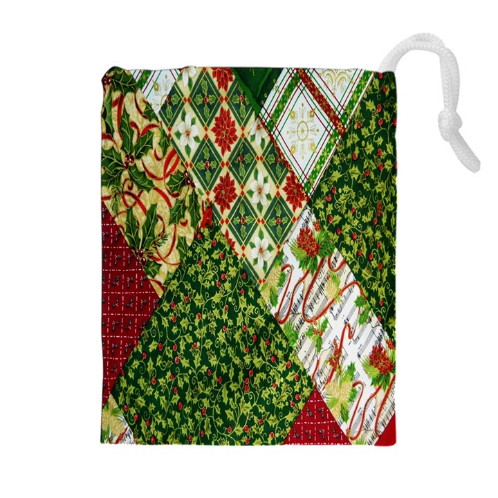 Christmas Quilt Background Drawstring Pouches (Extra Large)