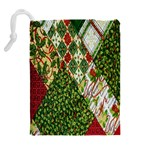 Christmas Quilt Background Drawstring Pouches (Extra Large) Back