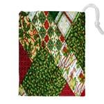 Christmas Quilt Background Drawstring Pouches (XXL) Front