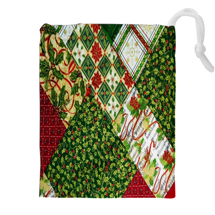 Christmas Quilt Background Drawstring Pouches (XXL)