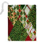 Christmas Quilt Background Drawstring Pouches (XXL) Back