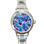 Purple Flowers Round Italian Charm Watch Front
