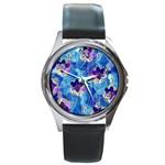 Purple Flowers Round Metal Watch Front