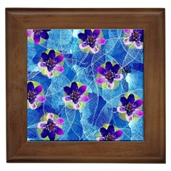 Purple Flowers Framed Tiles
