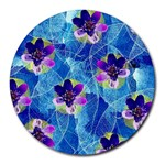 Purple Flowers Round Mousepads Front