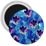 Purple Flowers 3  Magnets Front