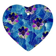 Purple Flowers Ornament (heart)