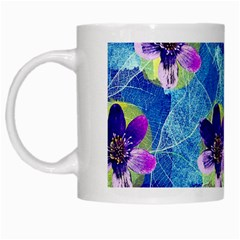 Purple Flowers White Mugs