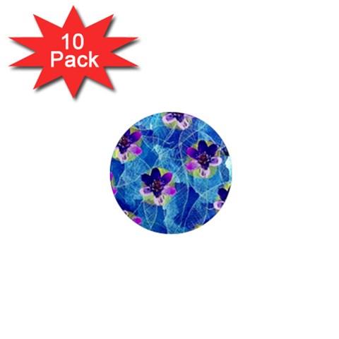 Purple Flowers 1  Mini Magnet (10 pack)