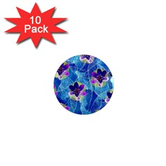 Purple Flowers 1  Mini Magnet (10 pack)
