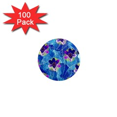 Purple Flowers 1  Mini Magnets (100 pack)