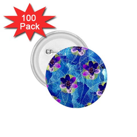 Purple Flowers 1.75  Buttons (100 pack)