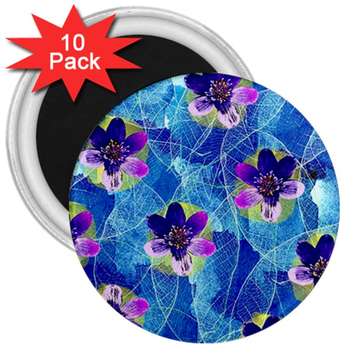 Purple Flowers 3  Magnets (10 pack)