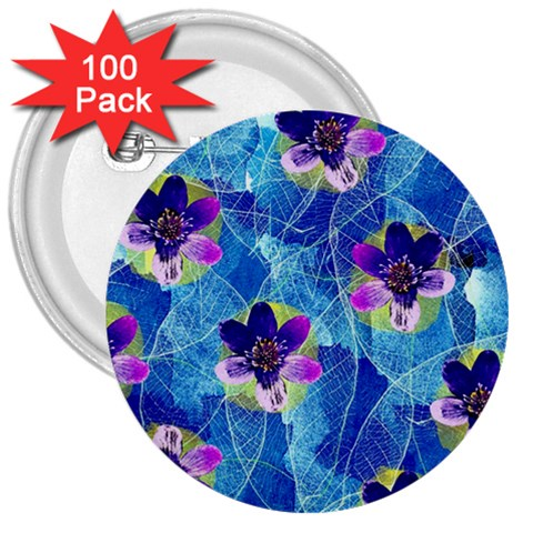 Purple Flowers 3  Buttons (100 pack)