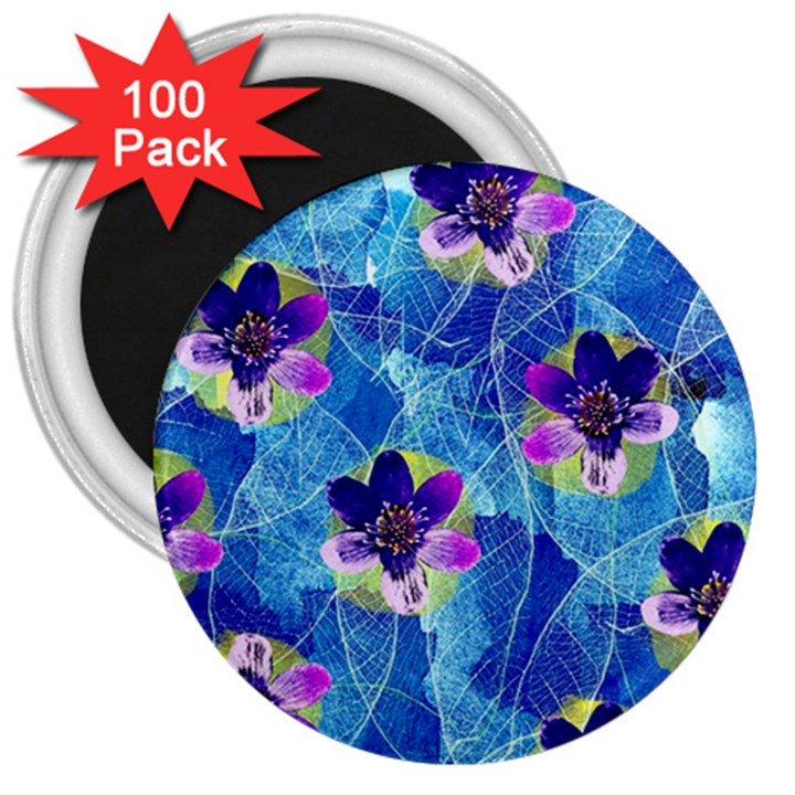 Purple Flowers 3  Magnets (100 pack)