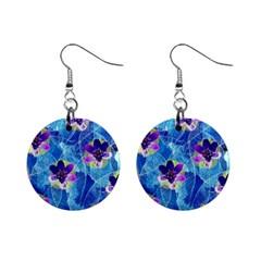 Purple Flowers Mini Button Earrings