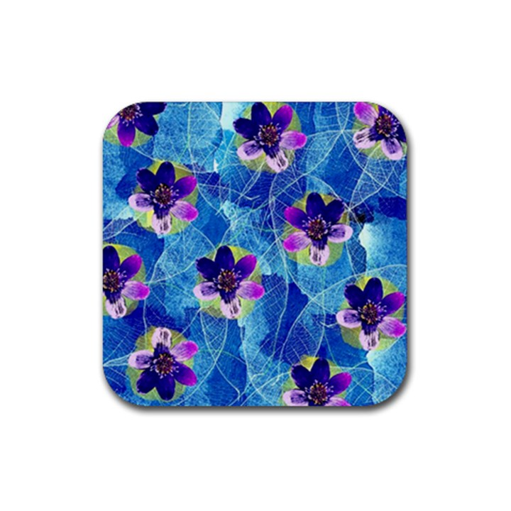 Purple Flowers Rubber Square Coaster (4 pack)