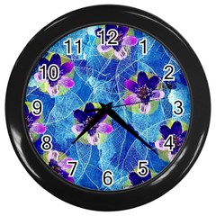 Purple Flowers Wall Clocks (black)