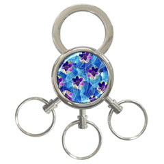 Purple Flowers 3 Ring Key Chains