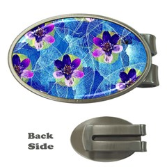 Purple Flowers Money Clips (oval)