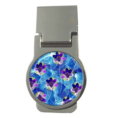 Purple Flowers Money Clips (round)