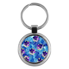 Purple Flowers Key Chains (round)