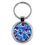 Purple Flowers Key Chains (Round)  Front