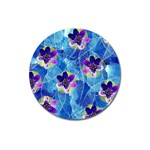 Purple Flowers Magnet 3  (Round) Front