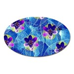 Purple Flowers Oval Magnet Front