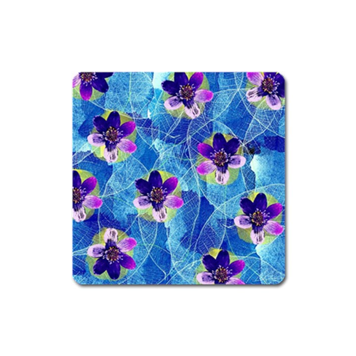 Purple Flowers Square Magnet