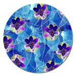 Purple Flowers Magnet 5  (Round) Front