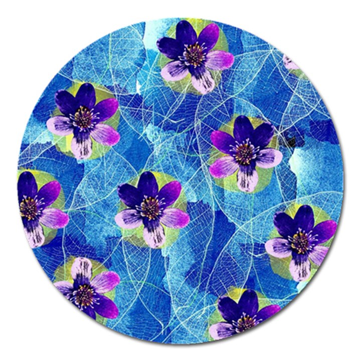 Purple Flowers Magnet 5  (Round)