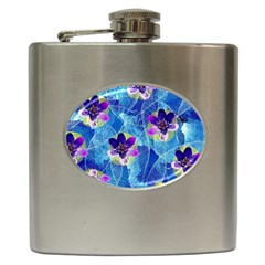 Purple Flowers Hip Flask (6 Oz)
