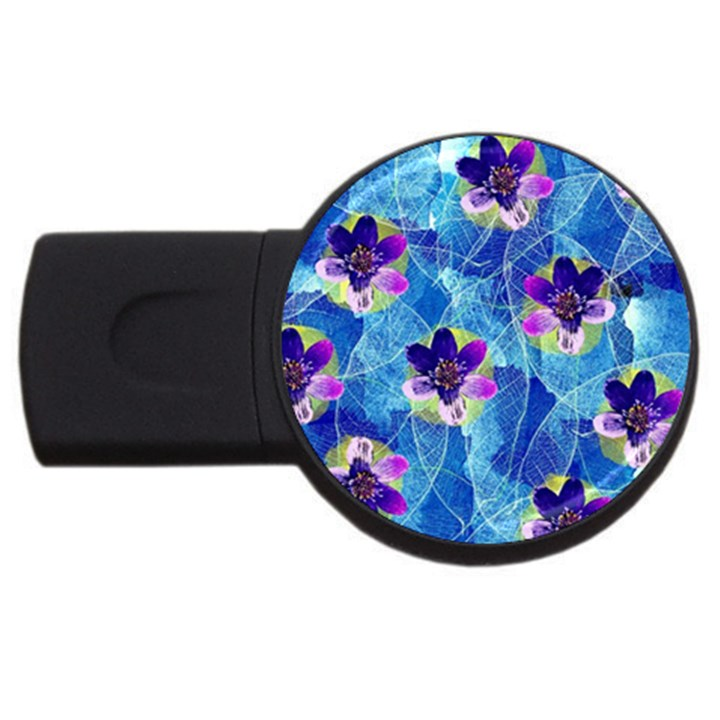 Purple Flowers USB Flash Drive Round (2 GB)