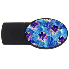 Purple Flowers USB Flash Drive Oval (1 GB)