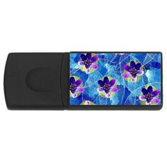 Purple Flowers USB Flash Drive Rectangular (2 GB)