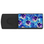 Purple Flowers USB Flash Drive Rectangular (2 GB)  Front