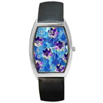 Purple Flowers Barrel Style Metal Watch Front