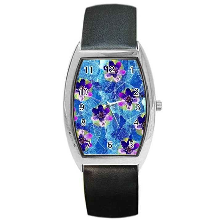 Purple Flowers Barrel Style Metal Watch