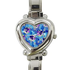 Purple Flowers Heart Italian Charm Watch