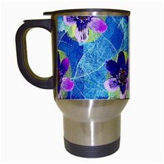 Purple Flowers Travel Mugs (white)